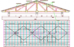 Roof Construction of Health Center Project dwg file