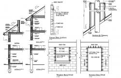 Roof Support Wall Section CAD Drawing