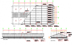 Roof and constructive details of shopping center dwg file