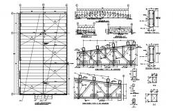 Roof and wall construction details of industrial plant dwg file