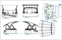 Roof audience seating structure detail view dwg file
