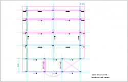 Roof beam layout for PRO office with architectural view dwg file
