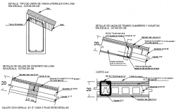 Roof column joint section detail dwg file
