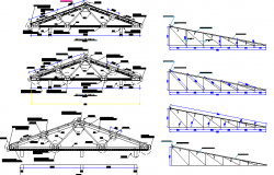 Roof construction and sectional details of municipal building dwg file