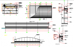 Roof construction and sectional details of shopping center dwg file