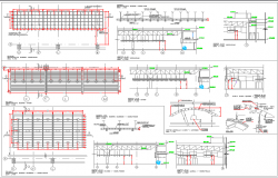 Roof construction and sectional details of super market dwg file