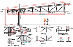 Roof construction details of building dwg file