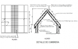 Roof construction details of single family house dwg file