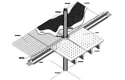 Roof construction details with concrete pillar dwg file