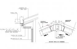 Roof construction details with water sewer system dwg file