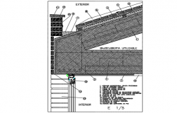 Roof cover in of zinc concrete structure detail dwg file