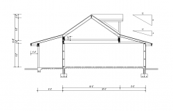 Roof detail elevation 2d view layout autocad file