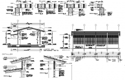 Roof elevation and section working plan detail dwg file