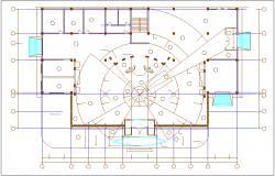 Roof floor plan of Volkswagen car show room dwg file