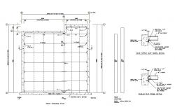Roof framing plan of house cad structure details dwg file