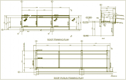 Roof framing plan view with beam and column view for structural design dwg file