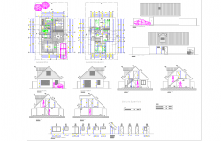 Roof house constructions detail in autocad files