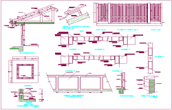 Roof mounting design view with sectional view dwg file