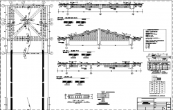 Roof plan, elevation and section detail dwg file