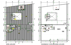 Roof plan Shopping center in lima plan dwg file