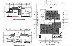 Roof plan and elevation house layout file