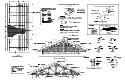 Roof plan and elevation working plan detail dwg file