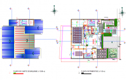 Roof plan and first floor plan detail dwg file