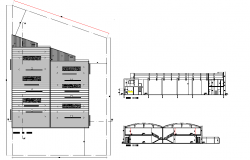 Roof plan and section Factory detail dwg file