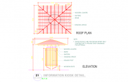Roof plan detail and elevation view detail dwg file