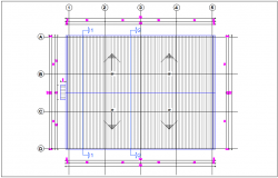 Roof plan for industrial hall plant dwg file
