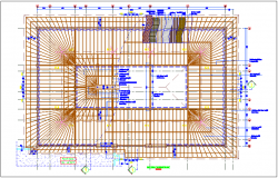 Roof plan for open restaurant dwg file