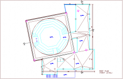 Roof plan of first level for turkey multipurpose room dwg file