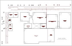 Roof plan of hospital with area detail dwg file