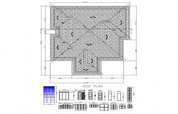 Roof plan of house 18.875mtr x 19.325mtr with detail dimension in dwg file