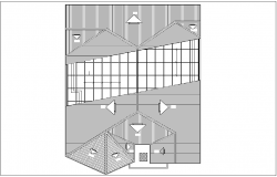 Roof plan of house with architectural view dwg file