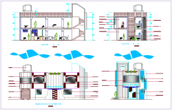 Roof plan of multiple use room dwg file