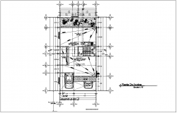 Roof plan of residential area with architecture view dwg file