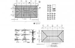 Roof plan of the house plan with detail dimension in AutoCAD