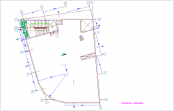 Roof plan with construction view for commercial building dwg file