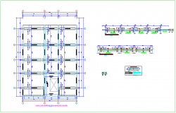 Roof plan with structural detail of municipality dwg file