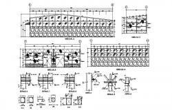 Roof section, structure and constructive details of industrial plant dwg file
