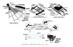 Roof section and constructive structure cad drawing details dwg file