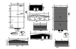 Roof section and plan details of industrial plant dwg file
