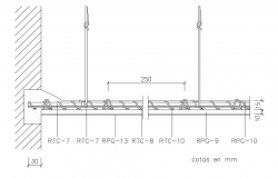 Roof section with structure view dwg file
