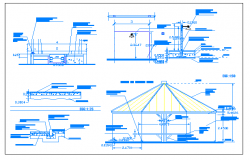 Roof shelter with palm leaves or branches dwg file