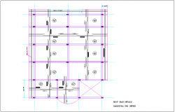 Roof slab detail for PRO office with construction view dwg file
