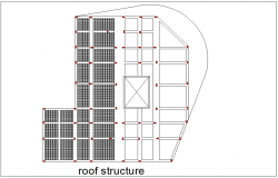 Roof structure view with structure view for nixed used building dwg file
