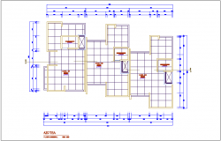 Roof top plan of multi family building dwg file