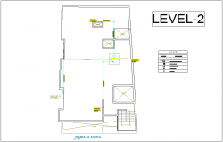 Roof top plan sanitary installation view with its legend for house with second level dwg file