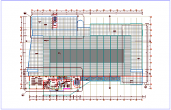 Roof top plan view of zonal market dwg file